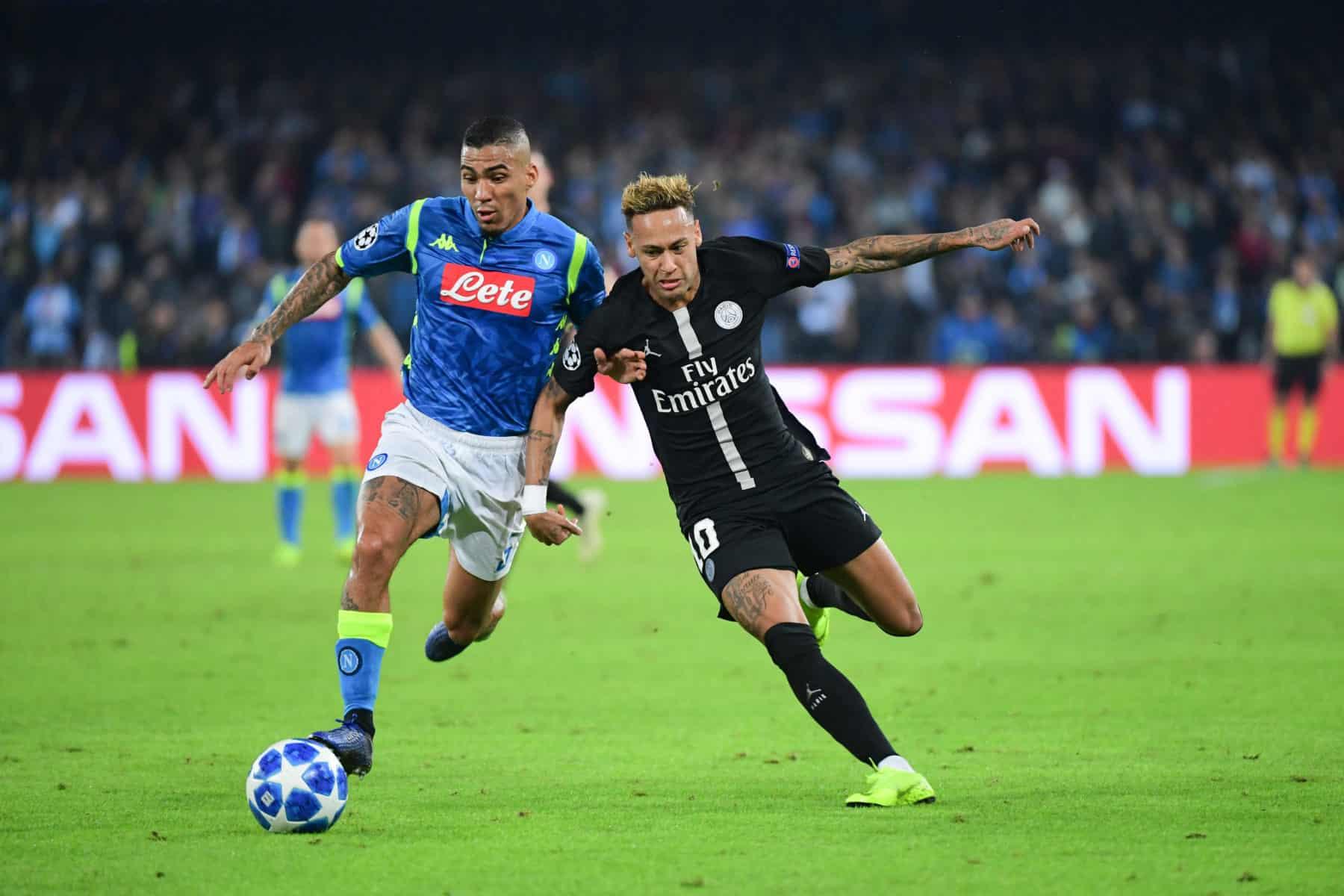 Neymar JR du PSG et Allan de Naples